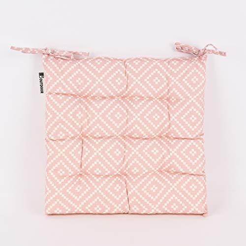 SCHÖNER LEBEN. Cojín para silla de exterior con lazos geométricos, color rosa y blanco, 35 x 35 cm