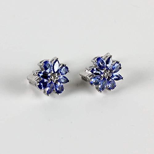 Exklusive Tansanit Ohrringe 925 Silber Rhodiniert Echt Natur Damen Tansanit Ohrschmuck