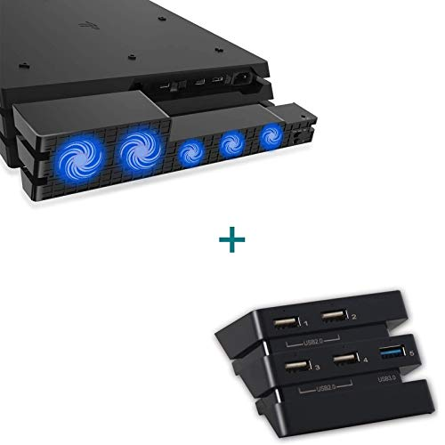 Ps4 Pro Cooler & USB Hub Combo Kit, 2-in-1 for PS4 Pro Auto Sensor Temperature Controlled Cooling Fan USB 3.0 Expansion Adapter Charger Controller Splitter Extender Compatible with Playstation 4 Pro