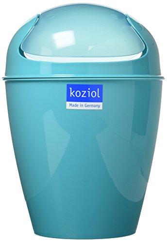 koziol Schwingdeckeleimer 2 L Del XS,  Kunststoff, solid türkis, 16,5 x 16,5 x 24 cm