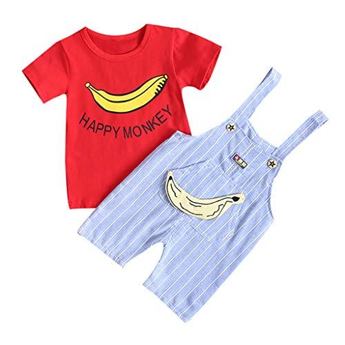 Tonsee Tenues Bébé Garçon, Enfants T-Shirt à imprimé Cartton Ensemble Complet de Pantalons à Rayures