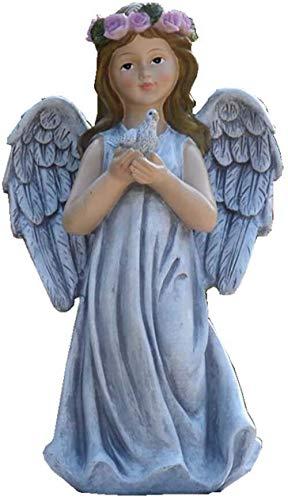JUNJIJINGXIANG Adornos Jardin Adornos Jardin Exterior Angel Statue Escultura, Resina Ángel Arte Artesanía Decoración Al Aire Libre Chica Estatua Adorno H29.5cm