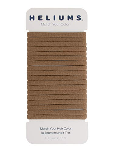 Heliums Light Ash Brown Skinny Seamless 6mm Medium Hold Soft Nylon Fabric Rolled Ponytail Holders - 18 Hair Ties