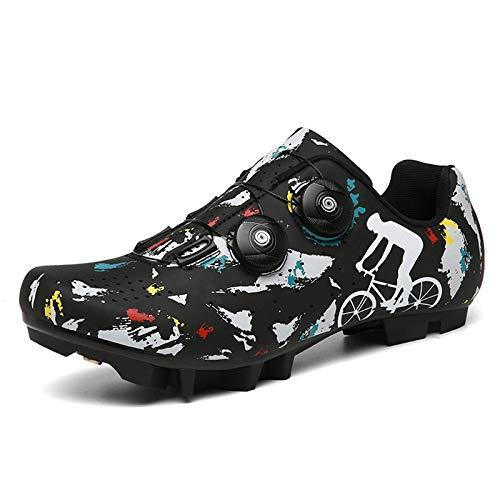 Zapatillas de Ciclismo-Zapatillas de MTB SPD Zapatillas de Bicicleta de montaña Tacos compatibles Zapatillas Transpirables Antideslizantes para Ciclismo al Aire Libre Unisex