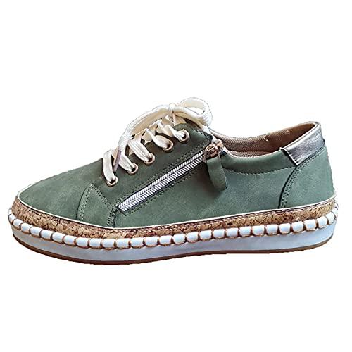 Zapatos bajos casuales de mujer con cuña de piel, cómodos, modernos, ligeros, transpirables, para barcos, verde, 35