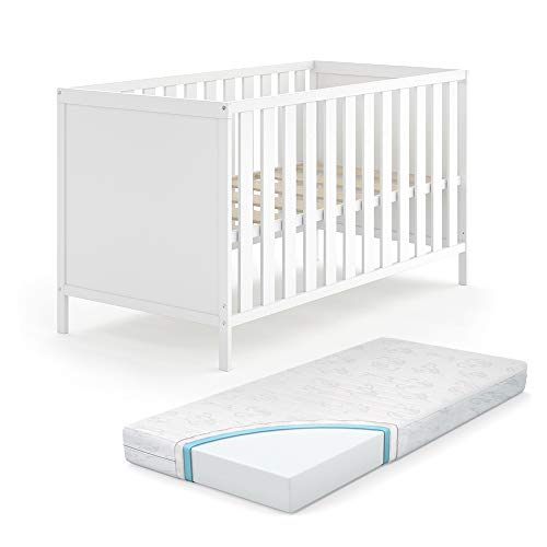 VITALISPA Babybett JONAS 70x140cm Gitterbett Umbaubett Kinderbett umbaubar weiß inklusive Matratze