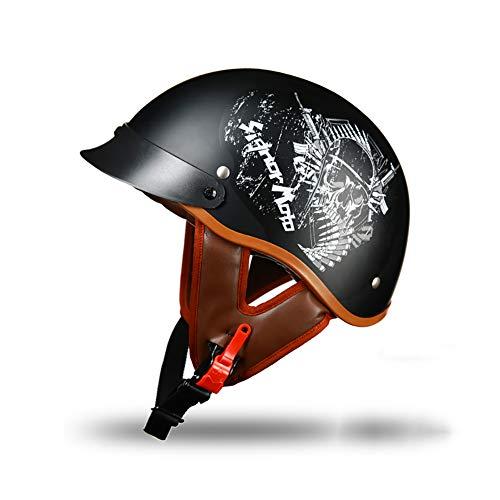 Yyou Half Helmet Motorcycle, Harley Helmet Street Scooter/Electric Car Riding Retro Half Helmet,M
