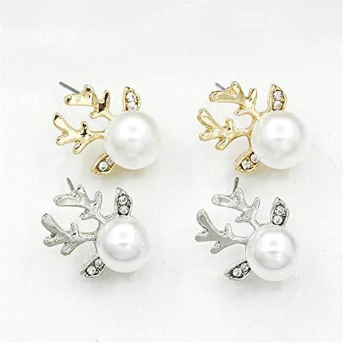 LPOQW Earrings Jewelry Simulation Pearl Deer Earrings Xmas Gift Elegant Jewelry Reindeer Ear Stud Christmas Crystal Gem Antler Earrings,Golden