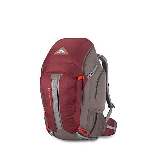High Sierra Pathway Internal Frame Hiking Backpack, Cranberry/Slate/Redrock, 50L