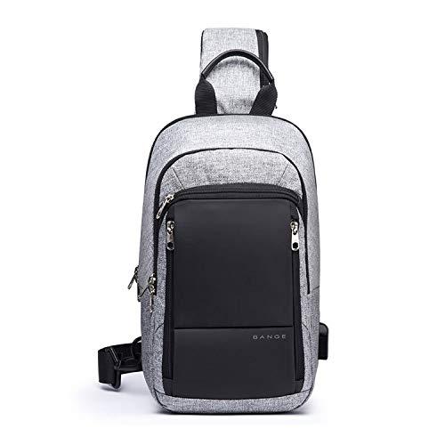 FANDARE Zaino Monospalla Uomo Borsello da Uomo con USB Borsa a Tracolla Borsa Outdoor Sportiva Sling Bag Affari Ciclismo Viaggio Grande Capacità Crossbody Bag Impermeabile Poliestere Grigio A