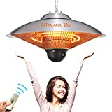 Outdoor Patio Heater Electric Heater - Ceiling Mount Remote 1500w/110v Outdoor Heater Infrared Carbon Tube Heater Portable Heater,3Level Power Levels Patio Heater for Weatherproof,Garage,Garden