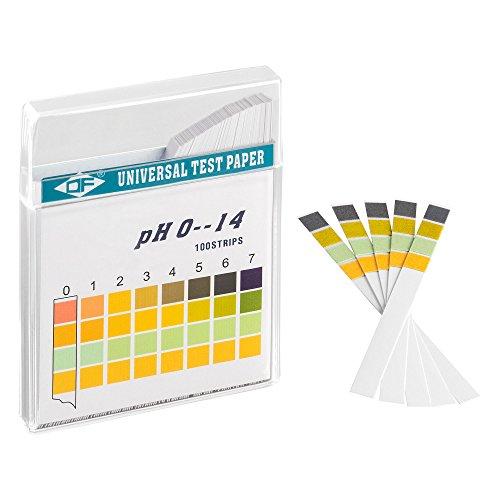 ECENCE Strisce per il test del pH 100 pz, cartine tornasole, intervallo di misurazione 0-14, cartine con indicatore universale, test di acidità per acquari e per acqua po
