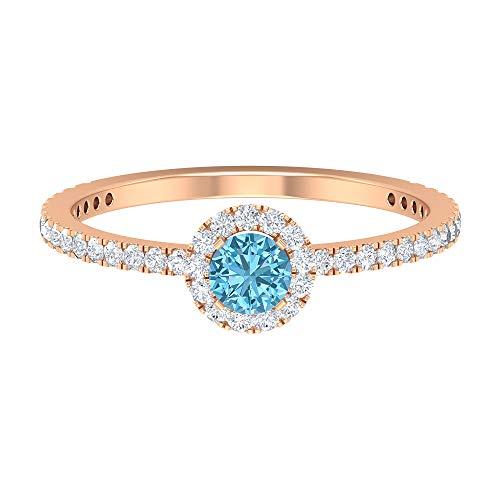 Rosec Jewels 14 quilates oro rosa redonda Round Brilliant Moissanite Aguamarina creada en laboratorio
