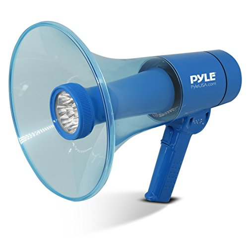 Pyle Portable Compact PA Megaphone Speaker w/ Alarm Siren, Adjustable Volume, 40 W Handheld Lightweight Marine Grade Waterproof Bullhorn, LED Flashlight, AA Battery Powered, Indoor Outdoor (PMP66WLT)