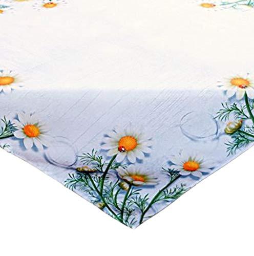 Raebel Tovaglia centrotavola estiva decorazione da tavolo stampata, fiori di camomilla, facile da pulire in poliestere (110 x 110 cm)