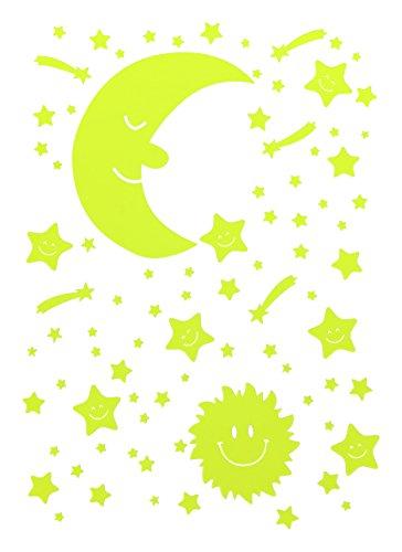 Leucht Sterne Himmel Mond Sonne Sternenschweif Selbstleuchtend Selbstklebend