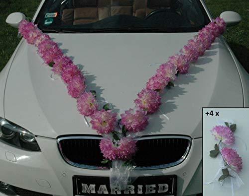 DAHLIEN Girlande Auto Schmuck Braut Paar Rose Deko Dekoration Autoschmuck Hochzeit Car Auto Wedding Deko PKW (Creme Pink/Weiß)