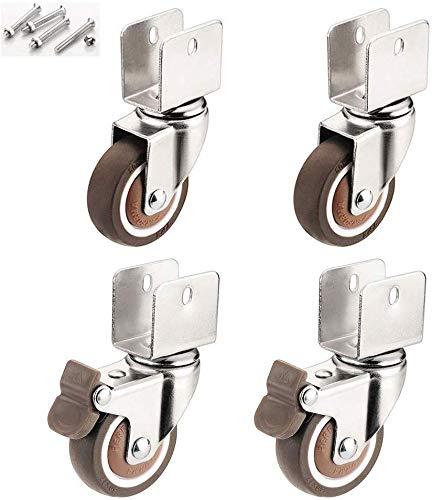 MY1MEY Rollen 2-Zoll-Lenkrollen,Möbelrollen mit U-förmiger Halterung, 4 Drehbare Lenkrollen, Rollen für Kinderbetten,18 mm/20 mm/22 mm/25 mm,für Möbel,Geräte&Ausrüstung,kleine Mini-Rollen für Möbel,