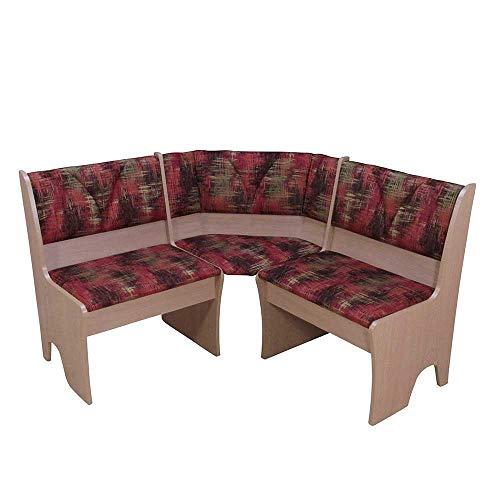 Pharao24 Eck Truhenbank in Rot Gemustert Buche Breite 165 cm beidseitig montierbar Ohne 5 Sitzplätze