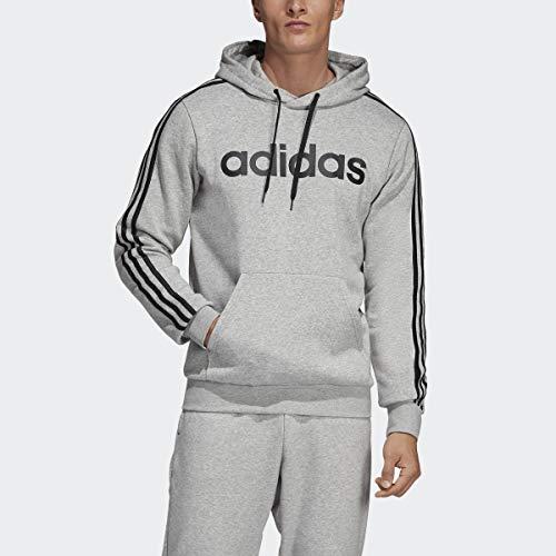 adidas mens Essentials 3-Stripes Pullover Hoodie Light Gray/White Medium