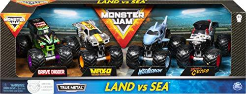 Monster Jam 6053860 - Pack de 4 vehículos (escala 1:64, modelos aleatorios), juguete para niños