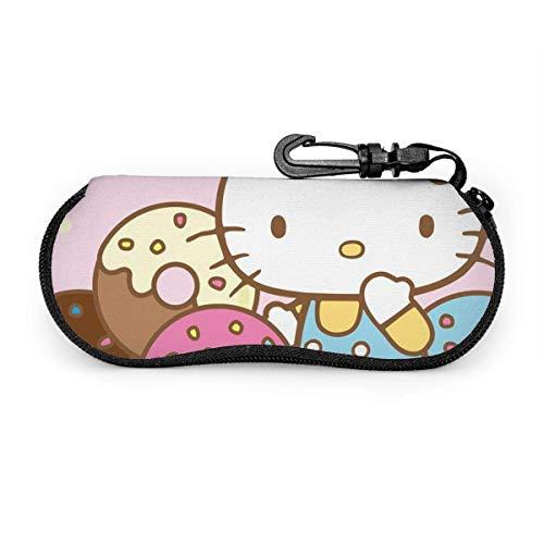 Sonnenbrillen und Brillenetui Hello Kitty With Donuts Langlebiger Brillenhalter mit Reißverschluss und Gürtelclip-W6