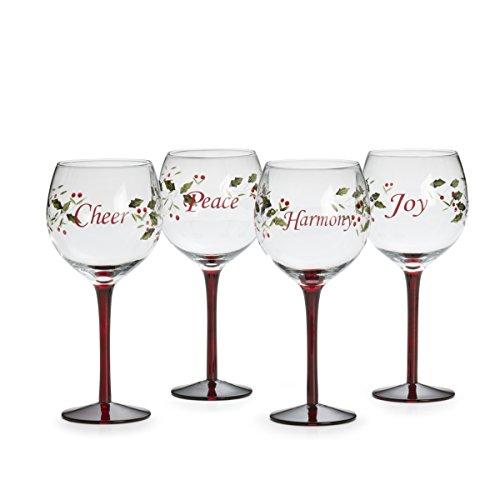 Pfaltzgraff Winterberry Harmony/Peace/Cheer/Joy Wine Glasses (Set of 4)