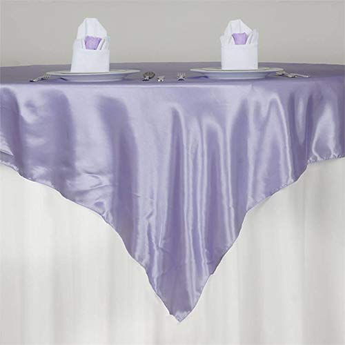 Efavormart 72' Satin Square Tablecloth Overlay for Wedding Catering Party Table Decorations Lavender Square Tablecloth Cover