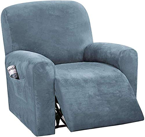 Coprisedia Reclinabile, Copridivano Reclinabile Elasticizzato per 1 Copridivano Sedili,Elastico Copridivano,Copridivano Reclinabile per Poltrona Relax (Color : Stone Blue)