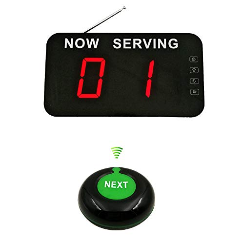 Take A Number System Wireless Number Calling System with 2 Digits Number Display and Next Button Ycall (2 Digits)