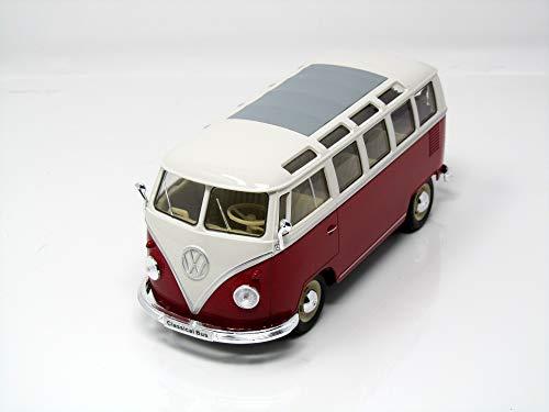 VW T1 Bus, rot/weiss, 1962, Modellauto, Fertigmodell, Welly 1:24