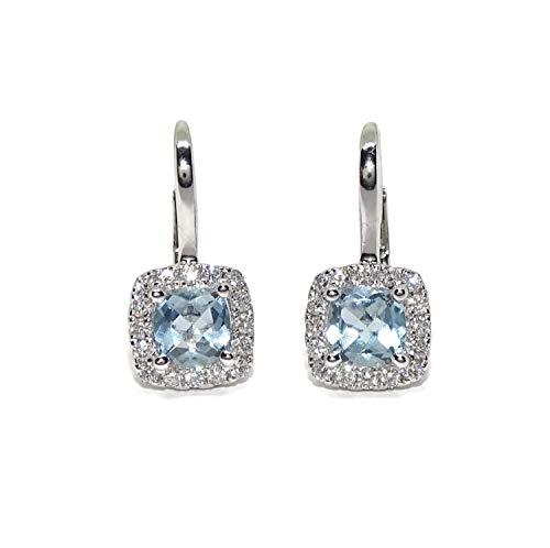 Orecchini con diamanti e topazi blu in oro bianco 18 carati, topazi 0,79 ct e 0,27 ct di diamanti, chiusura monachella, lunghezza 1,60 cm