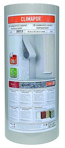 Climapor Isolant GRAPHITE cartonné sous papier peint, rouleau, 10 x 0,5 m x ~4 mm - PRIX SPECIAL LOT de 4 rouleaux (=20 m2)