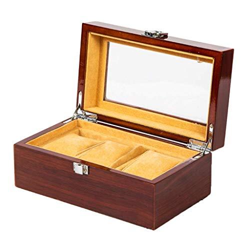 Tubayia Schmuck Anzeige Box Uhrenbox Veranstalter Organizer mit Glasdeckel für Halskette Armband Uhren (3 Schlitz)