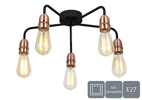 HARPER LIVING 5xE27/ES halfvlakke plafondlamp, zwart met koperen afwerking, geschikt voor led-upgrade, ideaal voor woonkamer, slaapkamer, keuken, hal, hotel, B & B, metaal