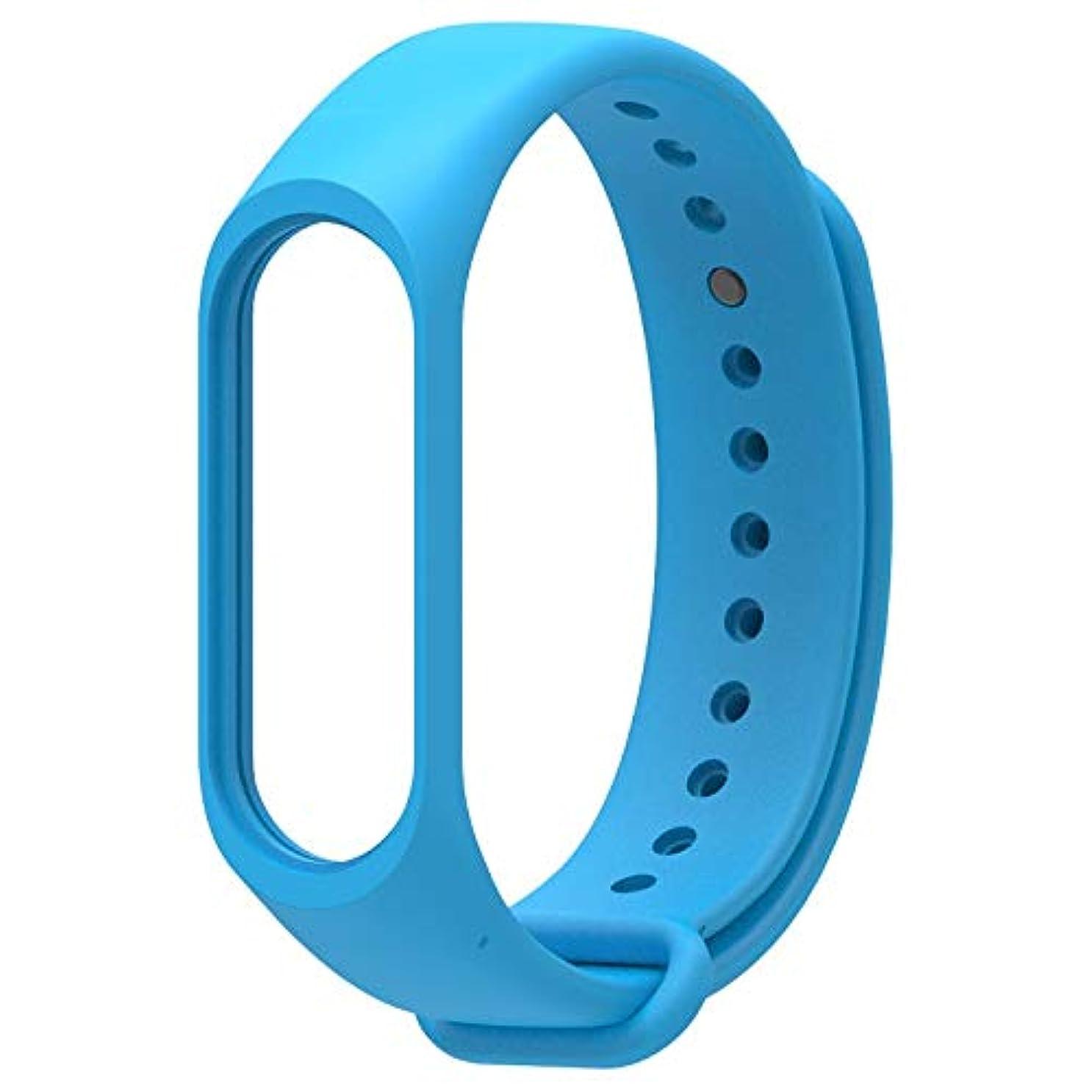 不満力強い画像WATCHBAND LUOSAI Xiaomi mi band 3 / mi band 4、ソフトシリコン交換用バンドフィットネススポーツブレスレットリストバンド用ウォッチストラップ (Color : Blue)