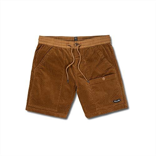 Volcom - Pantalones Cortos de Cintura elásticos para Hombre (43 cm) - Marrón - Large