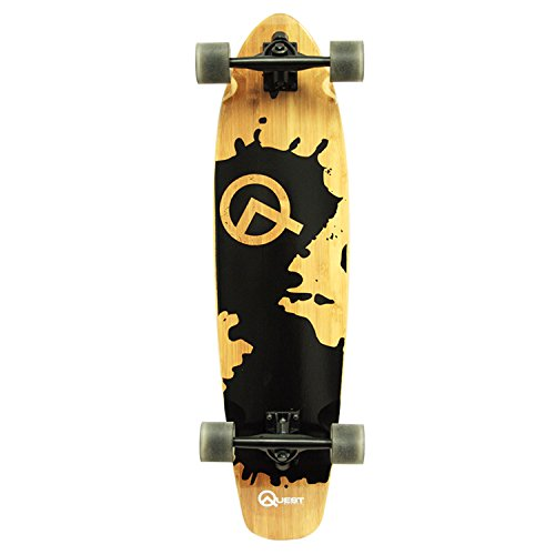 Quest Rorshack Bamboo Longboard Skateboard for Cruising