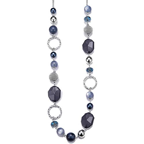 PEARL&CLUB Long Beaded Necklaces for Women - Sweater Chain Fashion Jewelry Necklace Gifts for Women (Navy Blue)