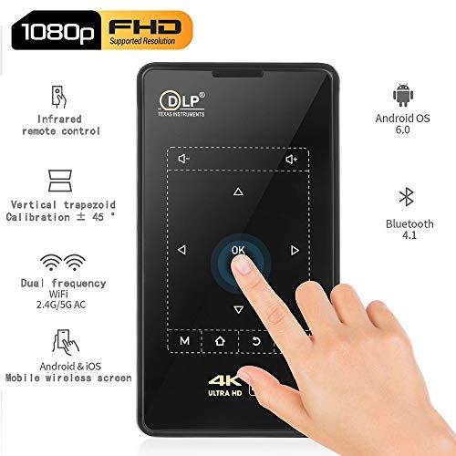 1080P HD nativo DLP completa Mini proyector LED wth Touch Control 100ANSI lúmenes Android 4K WiFi con soporte / distancia Proyector al aire libre del paquete de cine en casa Proyectores ( Size : AU )