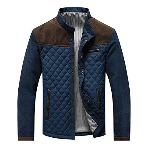 wkd-thvb Chaqueta de invierno para hombre Casual cálido Parka Stand Collar Abrigo Otoño Grueso Slim Hombre Outwear