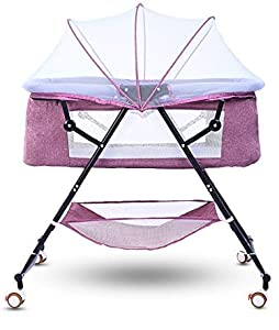 Newborn Crib Portable Multi-Function Soothing Shaker Baby Rocking Chair Full-Cover Mosquito Net Basket  Multi-Color Optional  Purple