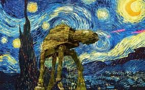Vincent Van Gogh Starry Night Star Wars Canvas Painting Poster and Print Wall Art Picture Modern Wall Art Picture No Frame (60cmX40cm x1)