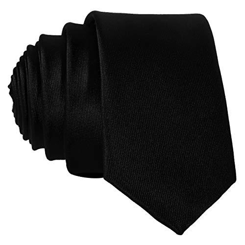 DonDon schmale schwarze Krawatte 5 cm glänzend