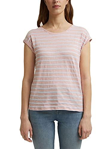 Esprit Lässiges Streifen Camiseta, Color Carne, L para Mujer