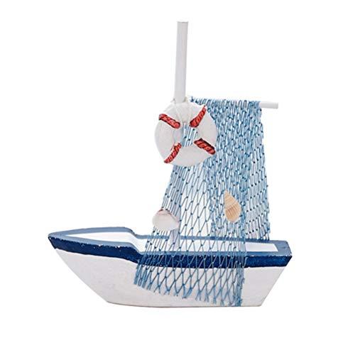 VOSAREA Ornamento de Velero de Madera Velero Modelo con Boya Salvavidas Decoración Náutica