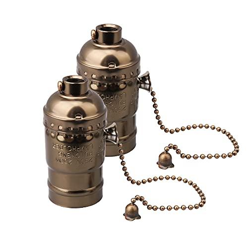 Mxfans 2 piezas AC110-240V E27 Vintage aluminio cadena lámpara titular bronce