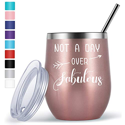Funny Birthday Wine Present for Women Friends, Wine Accessories for Her - Rose Gold