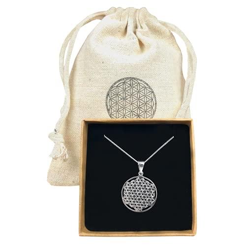 Lebensblume Kette   reines 925er Silber   verstellbar & elegant   als Glücksbringer oder hübsches Geschenk   Blume des Lebens als Symbol