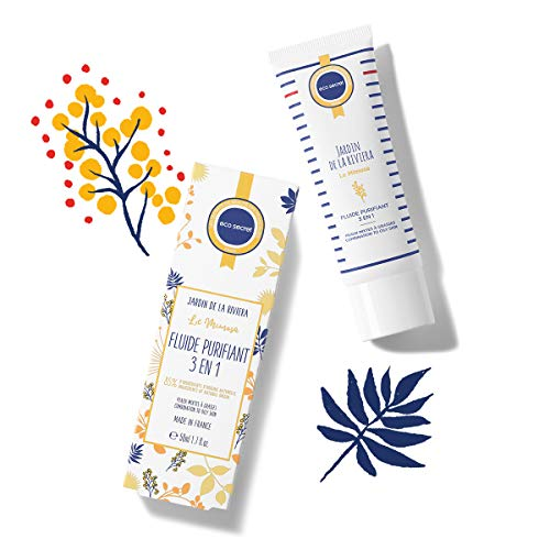 ECOSECRET PARIS - Fluide Purifiant Visage 3 En 1 – Peau Mixte à Grasse – 50 ml - Anti-Imperfection - Brillance - Sébum - Matifiant - Fabriqué en France - Extrait Naturel Mimosa Riviera